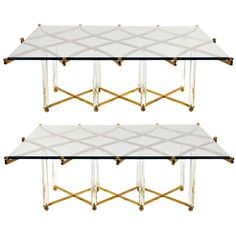 Pair: 1960 Brass, Lucite, And Glass Coffee Tables