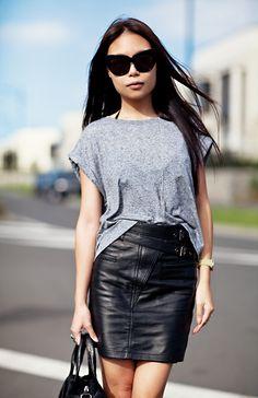 Grey cazh/loose top + black leather skirt