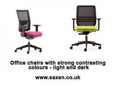 Office chairs with strong contrasting colours.