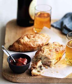 Pork, potato and rosemary pasties with rhubarb chutney - Gourmet Traveller