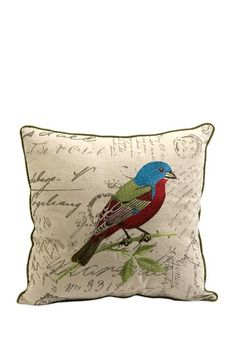 IMAX Betsy Embroidered Bird Pillow - 18 x 18