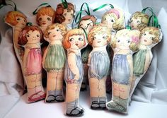Worry Doll or Ornaments  Vintage Inspired Paper by KimsCraftyApple
