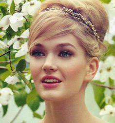 Alexandria Tiara by Jennifer Behr  in Washingtonian Magazine July 2013 :: bride :: bridal :: wedding :: hair :: updo :: headwrap :: crystal :: pearl :: gold :: beauty :: style