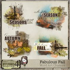 Digital Scrapbooking Studio Fabulous Fall - Word Art Clusters - These decorated Word Arts make for a beautiful addition to any page. Designed to coordinate with my Fabulous Fall packs, this is just the piece to top off any great layout! There are 4 - 300 dpi png files in this pack. PU/S4O/S4H.