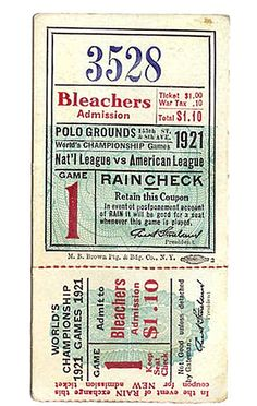 Valet. > The Edit > Look > Vintage Baseball Tickets - A Time to Get