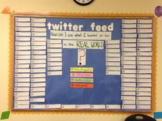 Middle School Math - Twitter Exit Ticket Bulletin board. Use this idea with an English grammar or writing lesson instead of math.