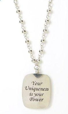 Silver Studded Inspiration Rectangle Pendant Necklace