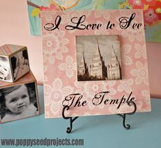 "Looking for a cute way to incorporate a picture of the LDS temple into your kids room?  These layered Temple Plaques come with vinyl that say, "" I Love to See the Temple.""  Perfect Super Saturday project."