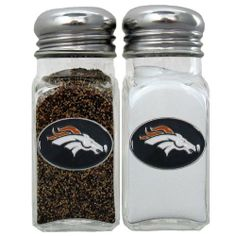 NFL Denver Broncos Salt & Pepper Shakers by Siskiyou. $16.99. Officially licensed NFL product^Set of 2 shakers^Glass shakers with metal screw tops^Diner style replicas^Cast & enameled team emblems. NFL  Salt & Pepper Shakers