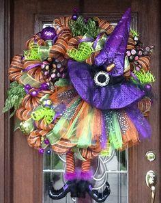 30 Deco Mesh TUTU WITCH HALLOWEEN Wreath by decoglitz on Etsy, $225.00