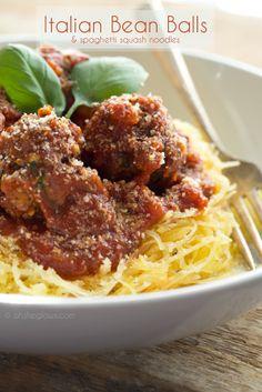Italian Bean Balls & Spaghetti Squash Noodles. #vegan #glutenfree #soyfree