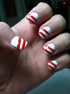 my own candy cane nails (: