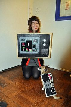 Tetris TV costume and a canine controller