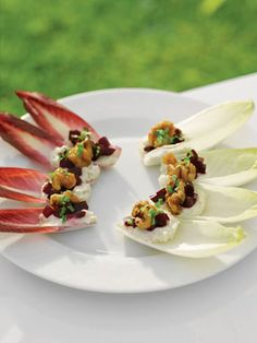 Roasted Beet Bruschetta on Endive with Caramelized Walnuts