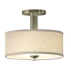allen + roth 12-in W Brushed Nickel Fabric Semi-Flush Mount Light - $59.87
