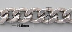 Stainless Steel Cable Link Chain, twist oval chain, with curb design, 304 steel, 14.5x11.2x3mm, Length:100 m, Sold by Group