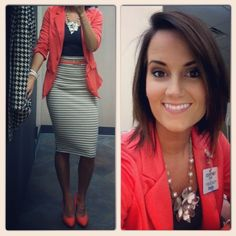 Coral blazer, coral heels, pencil skirt, office fashion, chunky necklace