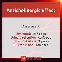 You must REMEMBER the drugs that can cause an anticholinergic effect. --- Visit http://qdnurses.com/qdmemes for your daily dose of nursing education! --- #nclex #nursing #nclextips #nclex_tips #nurse #nursingschool #nursing_school #nursingstudent #nursing_student