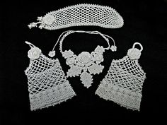 Gorgeous and Unique Irish Lace Crochet #Wedding Jewelry #handmade by #HeritageHeartcraft thread crochet