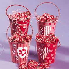 Tin pails with candy