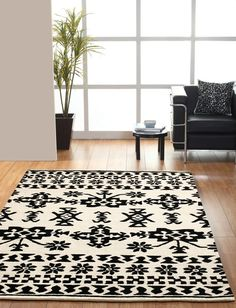 Southwest black and white rug