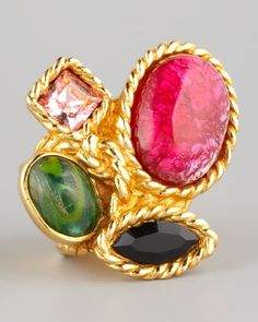 Four-Stone Arty Ring, Red by Yves Saint Laurent at Bergdorf Goodman.