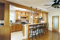 Craftsman-style kitchen and living room