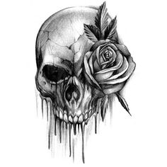 Bloody skull tattoo with rose. This is something I want at the shoulder of a sleeve but with the rose in red colour.