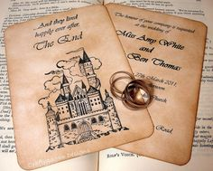 Fairytale Wedding Invitation and RSVP Card with Envelopes and Vintage Address Stickers or Love Seals
