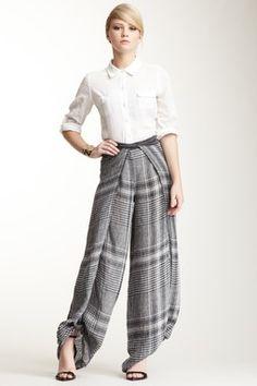 Printed Wrap Linen Blend Pant