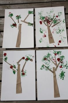apple trees with tinfoil, sandpaper and cork (happy hooligans) - easy craft, sensory fun, using items you have around the house.