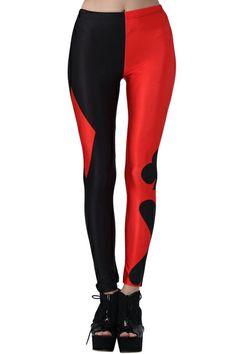 Harely Quinn Leggins :D ROMWE | ROMWE Black And Red Poker Pattern Print Leggings, The Latest Street Fashion