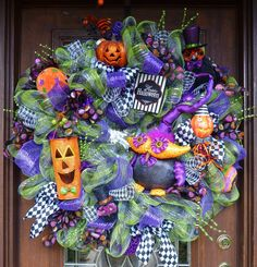 Deco Mesh OWLY HALLOWEEN Wreath Ready to ship by decoglitz on Etsy