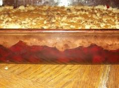 """DUMP CAKE Recipe - Literally """"dump"""" in the following order into a regular rectangle baking pan: 2 cans of cherry filling, 2 cans of pineapple - drained (I used chopped), 1 box of yellow cake mix, 1 stick of butter (I used 2) - sliced and spread around, and topped with chopped pecans.  Bake at 350-degrees for 35-40 minutes.  Wonderful, just like a cobbler."""
