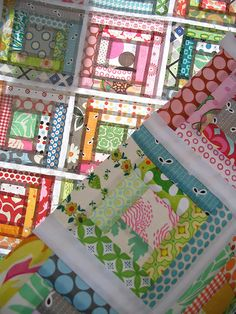 color, quilt top...Gelati Log Cabin by red pepper quilts