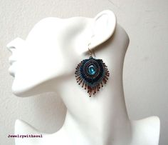 Peacocks feather bead embroidery earrings