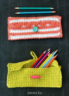 DIY: crocheted pencil pouch