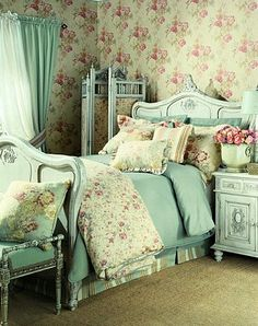 Shabby bedroom with Cabbages and Roses wallpaper