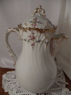 Lovely Antique Limoges Coffee/Tea/Chocolate Pot by BuslinHeirlooms, $66.00