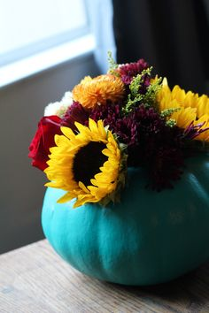 Turquoise pumpkin with flowers