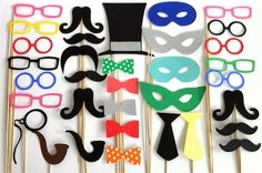 Photo Both Props 34 X Large Party Pack of 34 Wedding Photo Booth Props Party Decorations Party Supplies Masks Glasses Mustache Silver. $38.00, via Etsy.