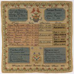 Family Register Sampler, 1833.