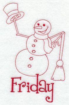 Snowman - Friday (Redwork)