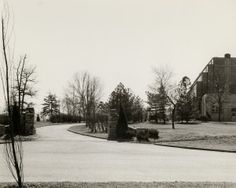 Forest Park, entrance pillars to Jewel Box drive with rear view of Jewel Box at right. (1940) Missouri History Museum