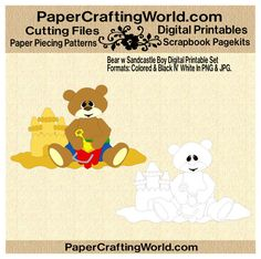 Boy Bear playing in sand digital printable. Both pre-colored and black n' white included in download. Direct Link: http://www.papercraftingworld.com/item_883/Bear-w-Sand-Castle-Boy-DS.htm