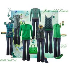 """""""Just Add Green"""" by leanne-m-zellmer on Polyvore. Love this green!"""