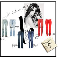 """""""Be a Jean-ius"""" by on Polyvore #CAbi brett #boyfriend jeans ; ruby #skinnyjeans and pigmented jeggings $108 each #deal #donotoverpay www.debragrauss.cabionline.com"""