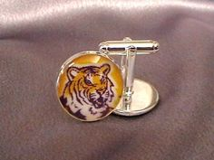 LSU Tigers Cufflinks Louisiana State University Fabric | GartersByMadison - Wedding on ArtFire