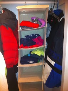 Love this idea of putting kids' daily outfits in a closet organizer.  Would make mornings less stressful!