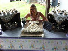 Burlap & Lace Wedding Shower - Cupcake Wedding Dress Cake - Apple Boxes Display additional cupcakes on Burlap & Lace